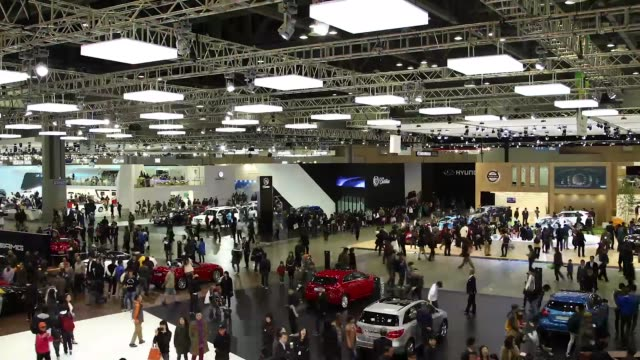 high angle view timelapse sequence press day of the seoul motor show in goyang the seoul motor show 2013 timelapse sequence on march 28 2013 in... - goyang stock videos and b-roll footage