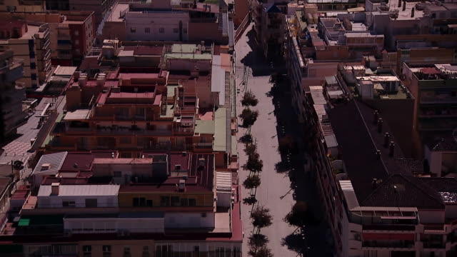 high angle views of benidorm during the coronavirus lockdown - inquadratura fissa video stock e b–roll