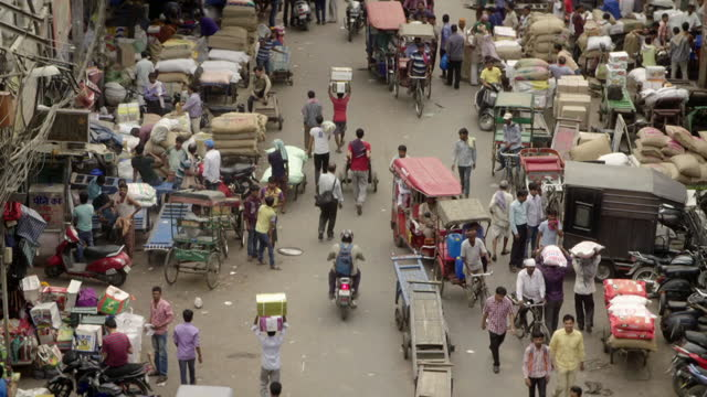 high angle views of busy street in old delhi - india stock videos & royalty-free footage