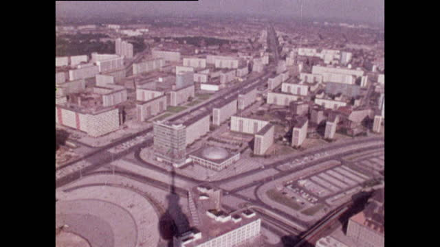high angle views of east berlin from top of berlin tv tower; 1970 - germany stock videos & royalty-free footage
