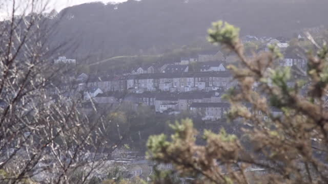 high angle views of ebbw vale - bare tree stock videos & royalty-free footage