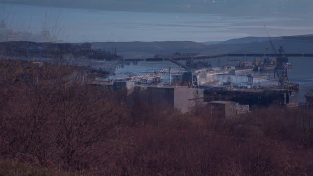 high angle views of hmnb clyde in faslane - military base stock videos & royalty-free footage