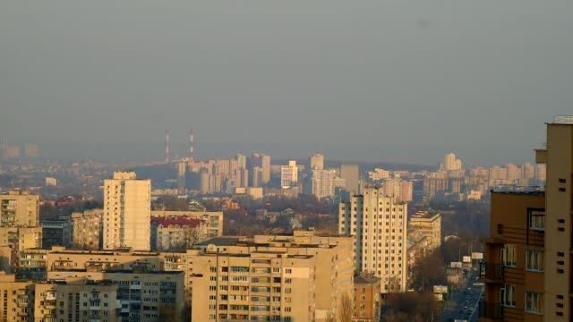 High angle views residential housing blocks stand on the city skyline in Kiev Ukraine on Sunday March 23 High angle view residential housing blocks...