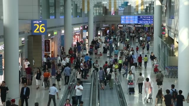 stockvideo's en b-roll-footage met high angle views travelers walk along a moving walkway or travelator at incheon international airport in incheon south korea high angle view airline... - incheon