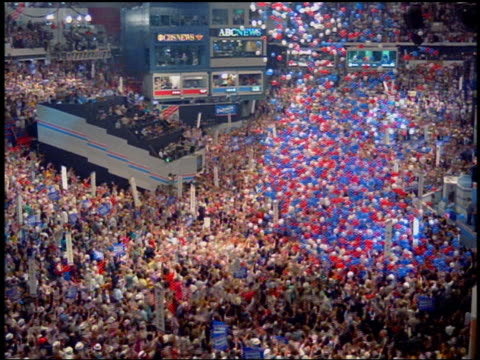 high angle wide shot balloons falling on crowd at democratic national convention / atlanta, georgia - 1988 stock videos & royalty-free footage