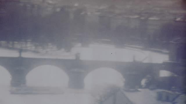 high angle wide shot pan cityscape with bridges over vltava river / prague, czech republic - river vltava stock videos & royalty-free footage
