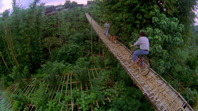 vídeos y material grabado en eventos de stock de high angle wide shot crane shot man walking goats on leashes and passing bicyclist on footbridge / palembang, indonesia - isla de sumatra