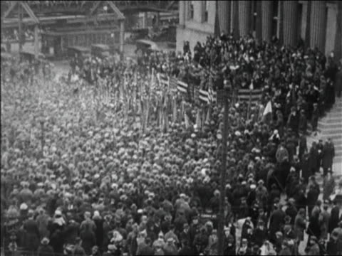b/w 1923 high angle wide shot crowd hearing speech at bonus march / borough hall brooklyn ny / newsreel - 1923 stock videos & royalty-free footage