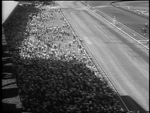 high angle wide shot crowd in race track at preakness / baltimore, md / newsreel - maryland delstat bildbanksvideor och videomaterial från bakom kulisserna