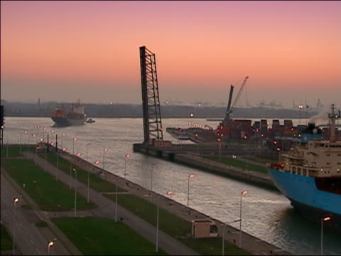 High angle wide shot dawn at Port of Antwerp/ Antwerp, Belgium