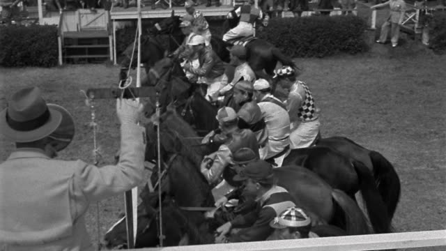High angle wide shot jockeys on racehorses lining up at starting gate / starting race / one horse lagging behind