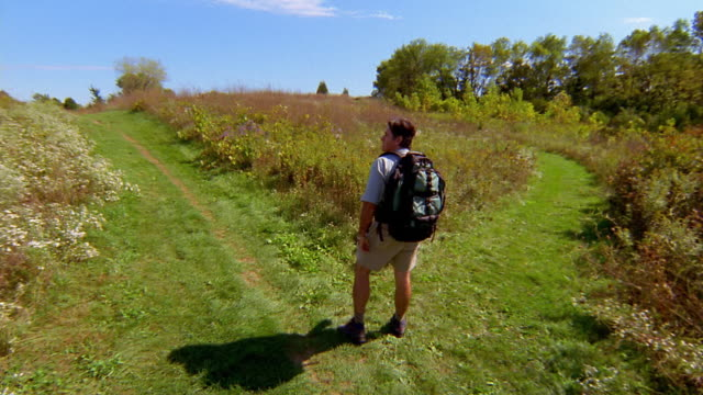 high angle wide shot man hiking up to fork in trail / choosing righthand, less traveled path - choice stock videos & royalty-free footage