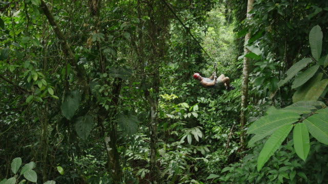high angle wide shot of man ziplining in rain forest / quepos, puntarenas, costa rica - ロープスライダー点の映像素材/bロール