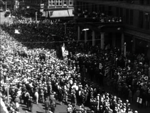 high angle wide shot parade for al smith during presidential campaign / documentary - 1928 stock videos & royalty-free footage