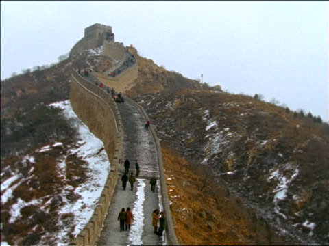 high angle wide shot people on Great Wall of China in winter