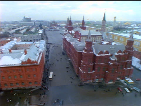 high angle wide shot PAN Red Square in Winter / Moscow