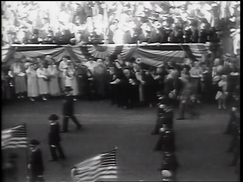 high angle wide shot senior civil war veterans walking in parade / springfield, il - 1932 stock videos & royalty-free footage
