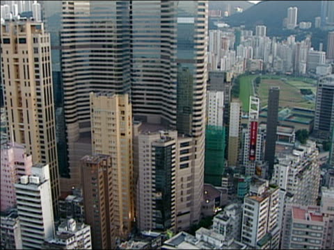 high angle wide shot skyscrapers/ hong kong - anno 2002 video stock e b–roll