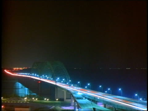 high angle wide shot time lapse traffic on the memphis arkansas bridge at night / memphis, tennessee - cinematography stock videos & royalty-free footage