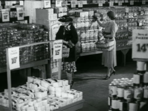 B/W 1938 high angle women shopping in grocery store / industrial