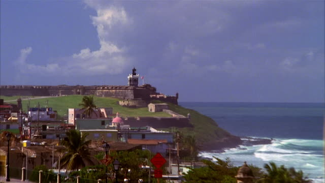 high angle zoom out fort san felipe del morro / old san juan, puerto rico - 16th century style stock videos and b-roll footage