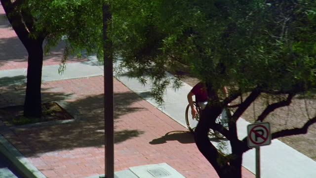 high angle zoom out tracking shot man in wheelchair passing two women jogging in park and all three turning heads / tucson, arizona - 身体障害点の映像素材/bロール