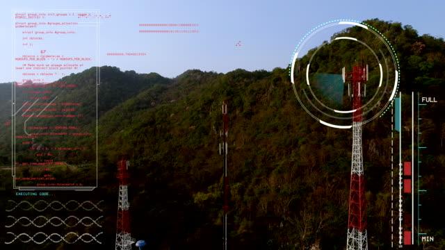 vídeos de stock, filmes e b-roll de antena alta sinalização, infográficos dados de movimento de alta tecnologia de textura loop. - rádio eletrônico de áudio