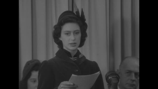 high commissioner for canada l dana wilgress / lady astor seated at table with others / sot margaret speaking to nurses noblest callings a woman can... - 1951 stock videos & royalty-free footage