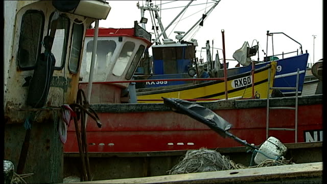 high court battle over fishing quotas england sussex hastings ext paul joy along with reporter fishing boats on beach itn reporter and joy along past... - battle of hastings stock videos & royalty-free footage