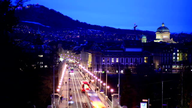 High elevated view of Bern's transport at dusk