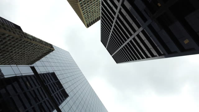 high elevation view of skyscrapersin downtown chicago - rectangle stock videos & royalty-free footage