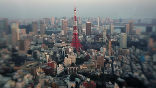 High elevation view of Tokyo city Tower and district using Lensbaby, Japan, Asia