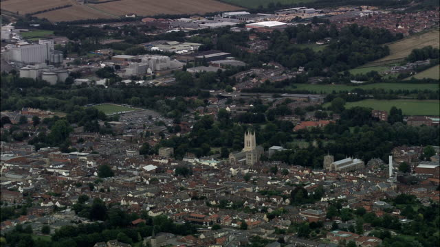 high establishing shot of bury st. edmunds - aerial view - england, suffolk, st. edmundsbury district, united kingdom - bury st edmunds stock videos & royalty-free footage