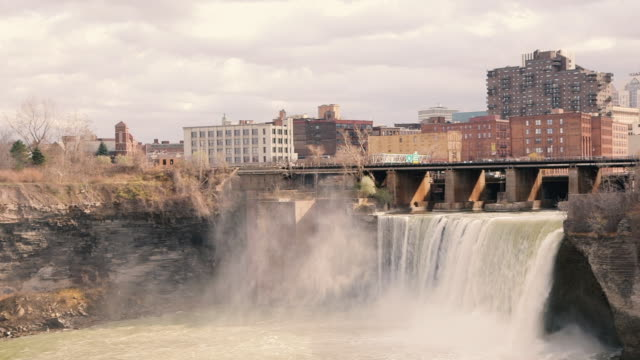 high falls in rochester, new york usa - textile mill stock videos & royalty-free footage