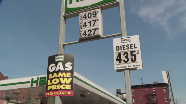 stockvideo's en b-roll-footage met high gas prices on a gas pump in new york juxtaposed with a big gas same low price cash or credit sign - benzineprijzen