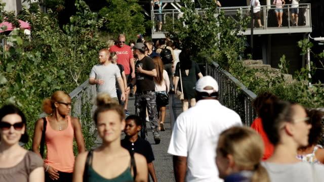 vídeos de stock e filmes b-roll de high line park, manhattan - new york city - chelsea manhattan