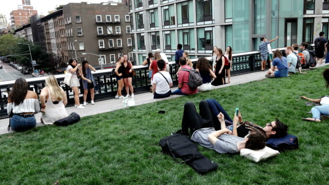 high line park, manhattan - new york city - chelsea new york stock videos & royalty-free footage