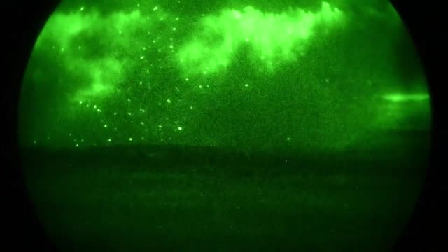 high mobility artillery rocket system vehicles with the 1st battalion 623rd field artillery regiment kentucky army national guard participate in... - night vision stock videos and b-roll footage