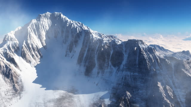 high mountain. 3d animation - mountain peak stock videos and b-roll footage