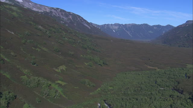 high mountain peaks tower over forested valleys. - wilderness stock videos and b-roll footage