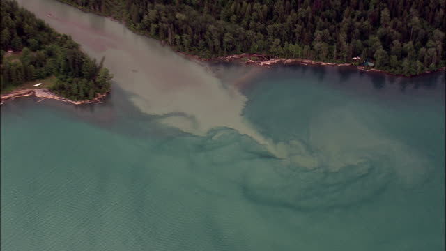 high over mcdonald creek and l lake  - aerial view - montana, flathead county, united states - flathead lake stock videos and b-roll footage