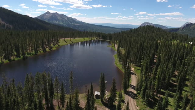 High over Mountain Lake, Rocky Mountains Reveal Fall colors Lake Reflection, Off road, rzr Wildlife, Foliage SHORT Aerial, 4K, 27s, 5of102, Stock Video Sale - Drone Discoveries - Drone Aerial View