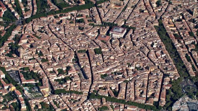 high overhead aix-en-provence  - aerial view - provence-alpes-côte d'azur, bouches-du-rhône, aix-en-provence, france - overhead projector stock videos & royalty-free footage