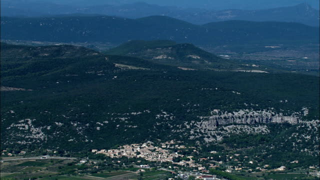 high overhead corconne  - aerial view - languedoc-roussillon, gard, arrondissement du vigan, france - overhead projector stock videos & royalty-free footage