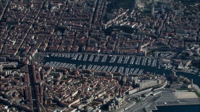 high overhead marseille  - aerial view - provence-alpes-côte d'azur, bouches-du-rhône, arrondissement de marseille, france - overhead projector stock videos & royalty-free footage