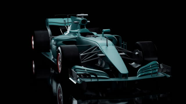 high performance race car blue color in studio on black background. - formula one racing stock videos & royalty-free footage