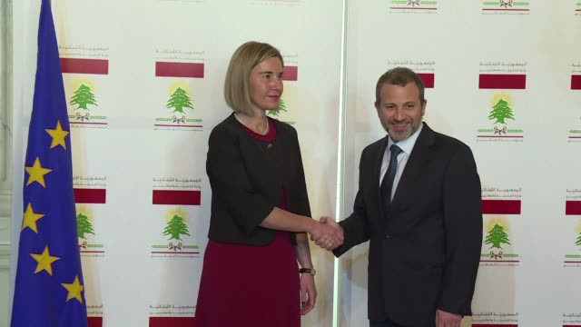 high representative for foreign affairs federica mogherini held a joint press conference with the lebanese foreign minister gebran bassil in beirut... - thursday stock videos & royalty-free footage