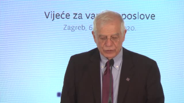 high representative of european union josep borrell fontelles speaks during a joint press conference held with croatian minister of foreign and... - zagreb stock videos & royalty-free footage