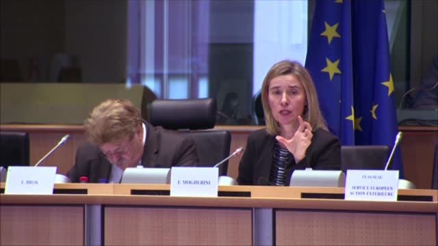 High Representative of the European Union for Foreign Affairs and Security Policy Federica Mogherini attends a hearing by European Parliament Foreign...