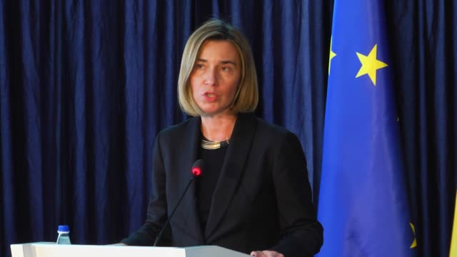 High Representative of the European Union for Foreign Affairs and Security Policy Federica Mogherini and Kosovo's Prime Minister Isa Mustafa attend a...